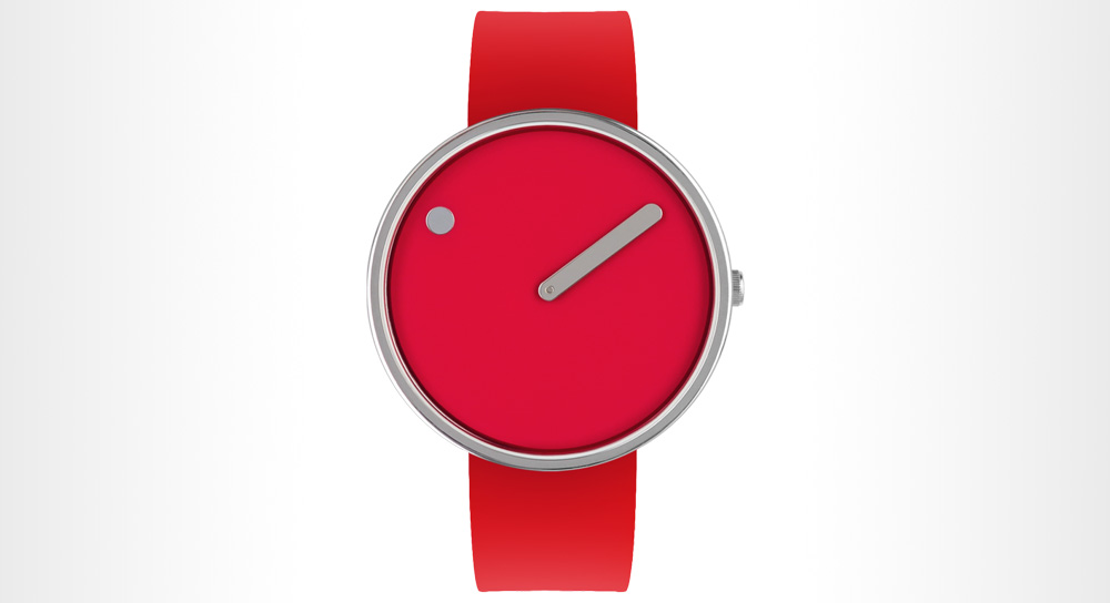 Picto - 40mm Red/Polished Steel