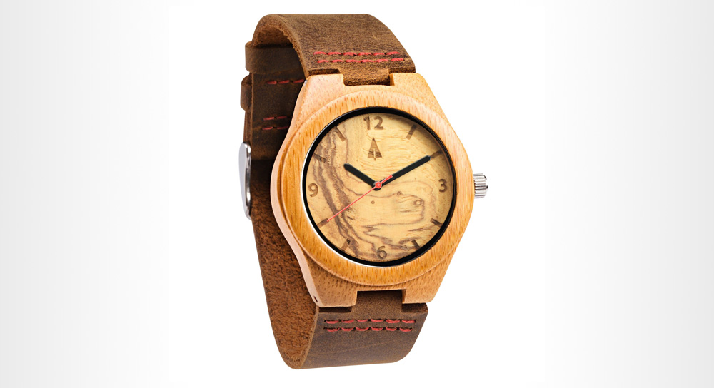 TreeHut - Olive Ash Red Small wood watch