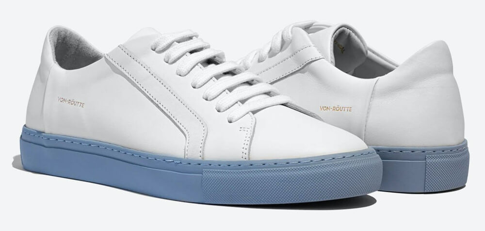 Von-Routte lyon stripe white sky blue sneakers