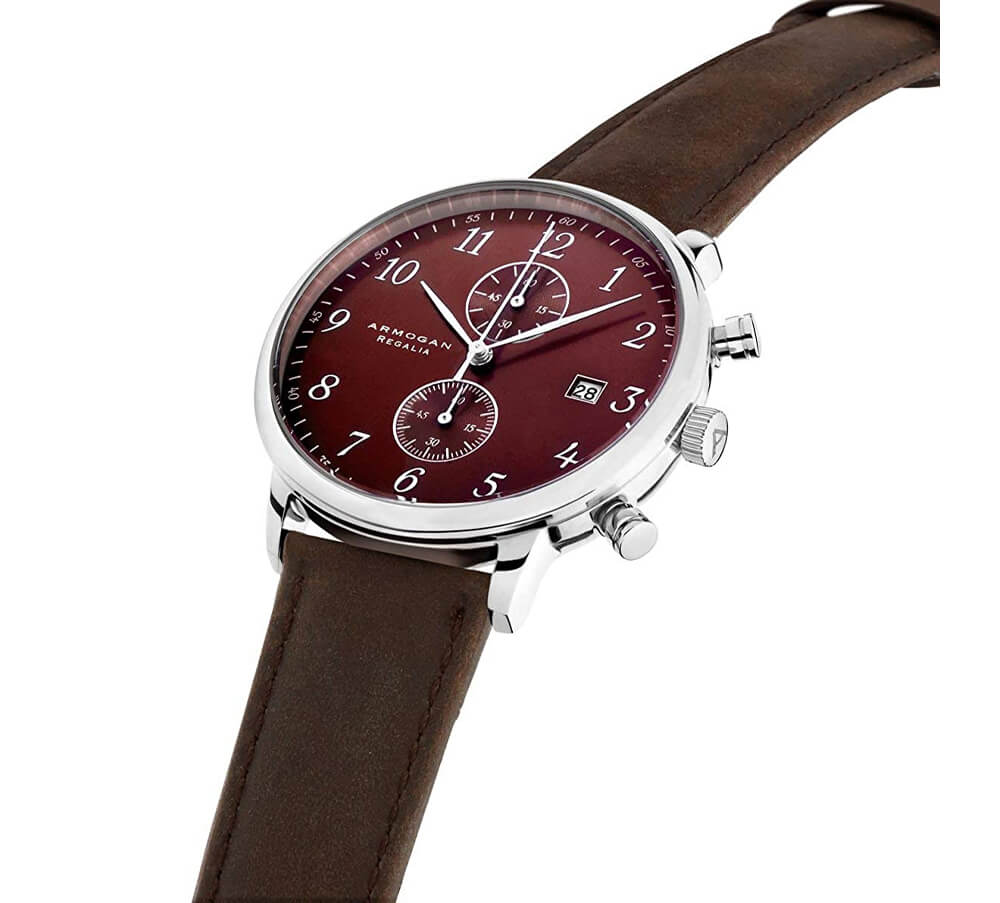 Armogan Regalia - Red Ruby C71 - Men's Chronograph Watch Leather Strap