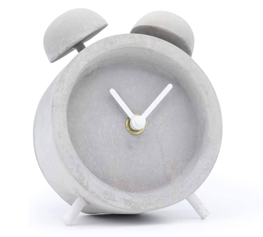 Driini Concrete Twin Bell Desk and Table Clock