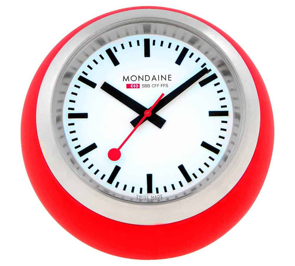 Mondaine Globe White Dial Red Case Desk Clock