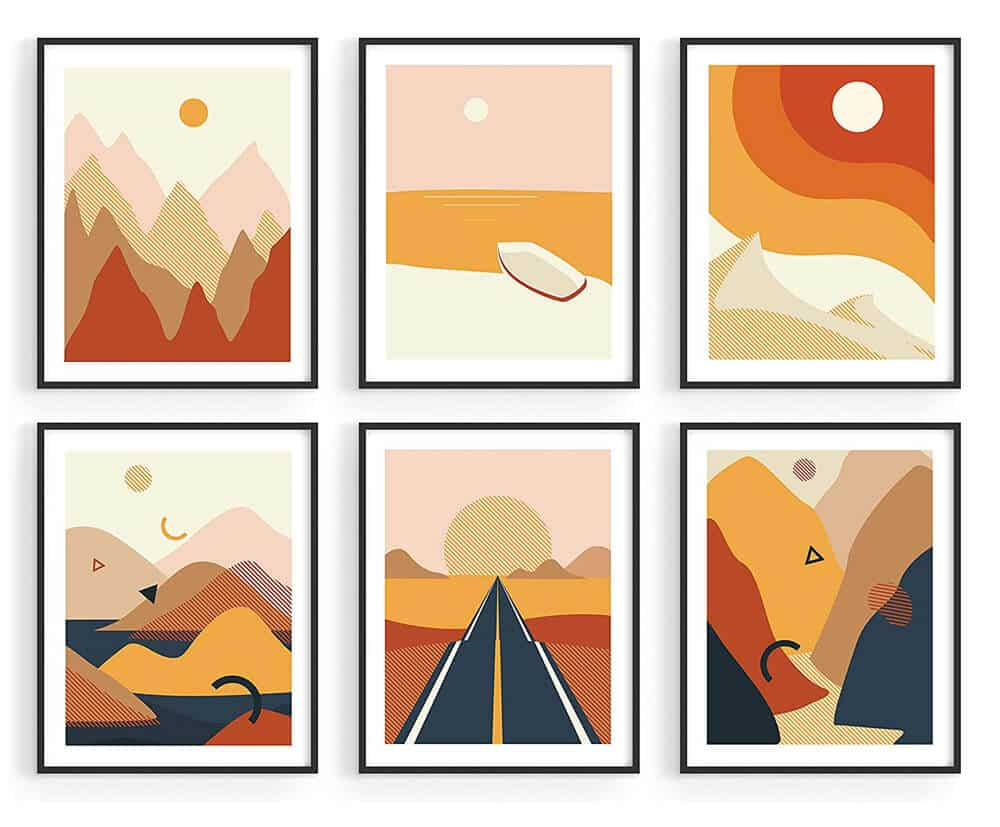 Haus and Hues Abstract Minimalist Landscape Wall Art Prints
