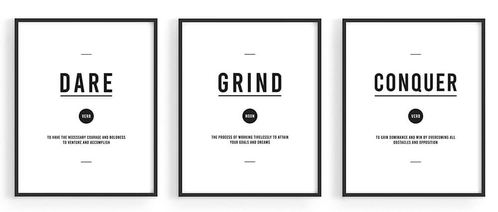 Haus & Hues - Motivation Wall Art Prints Office Decor - Set of 3