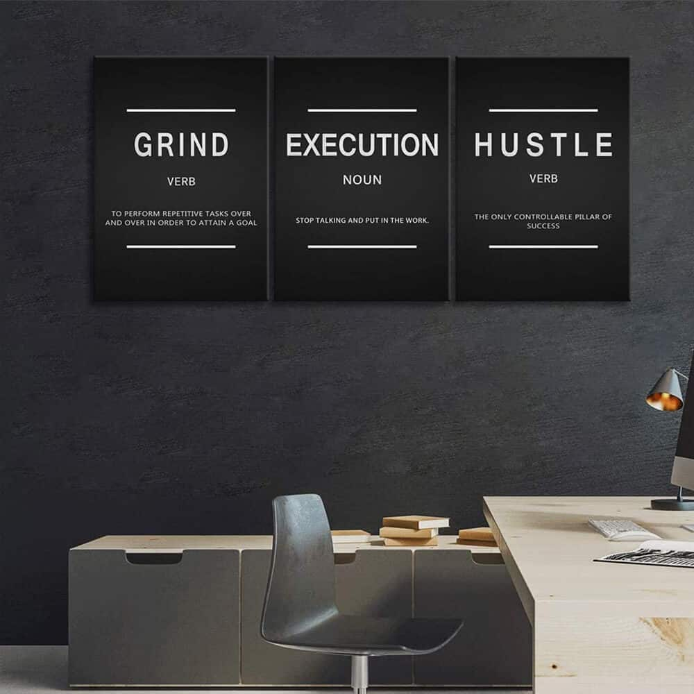 Large Inspirational Wall Art - 3 Panels Framed Office Poster