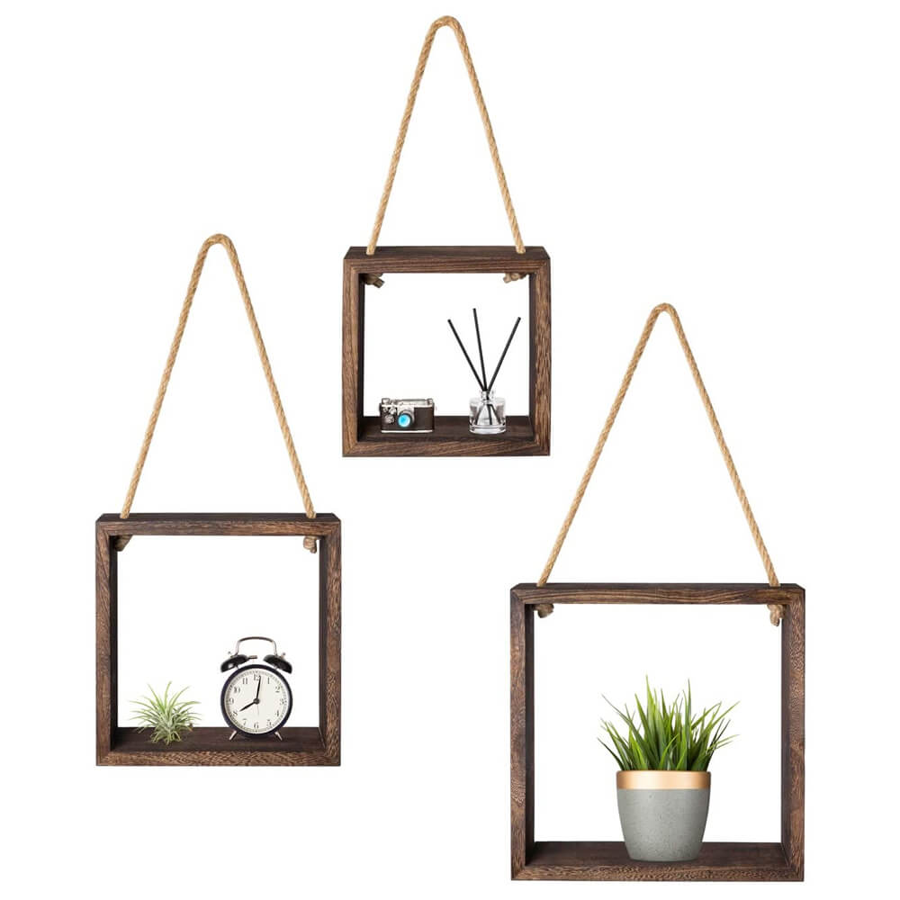 Mkono Hanging Square Floating Shelves