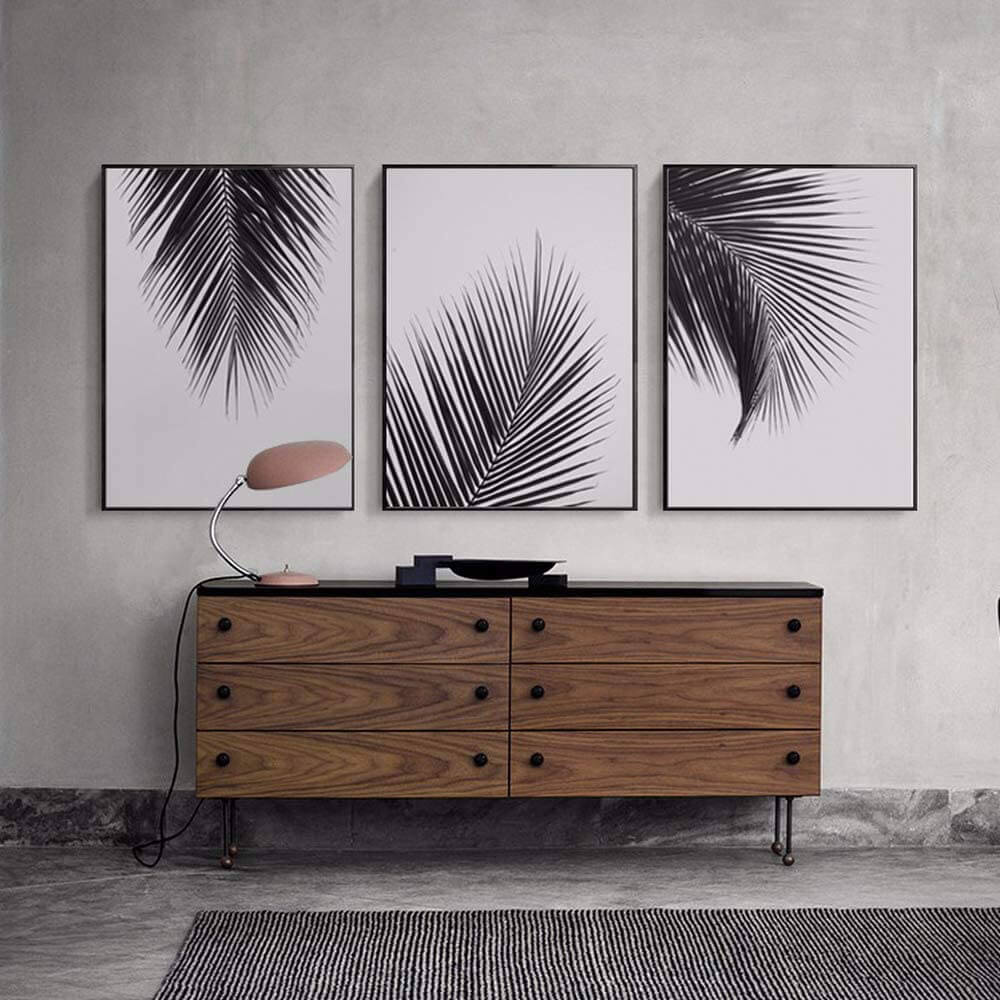 Artinme White Palm Tree Leaves Wall Art