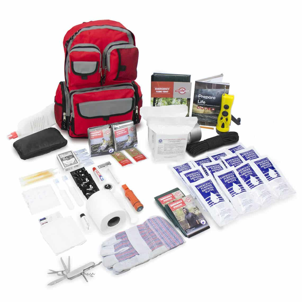 Emergency Zone Deluxe Urban Survival Kit - Red Backpack