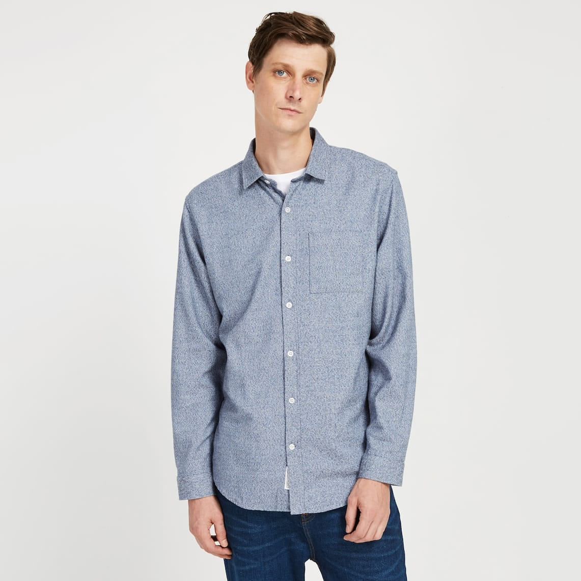 Frank & Oak - Marled Cotton Shirt in Navy