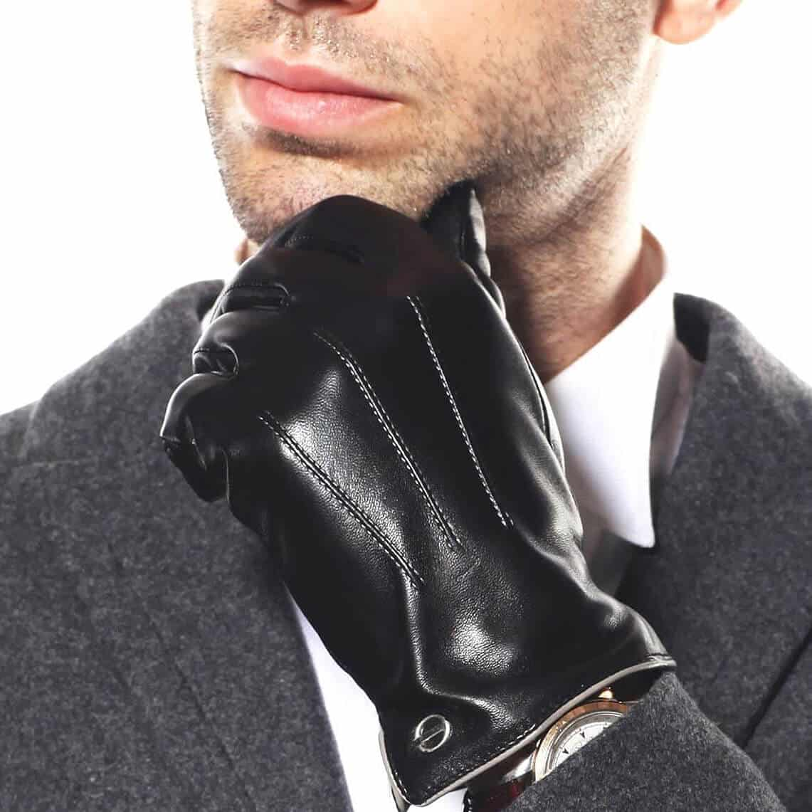 ELMA - Winter Leather Driving Gloves for Men and Women