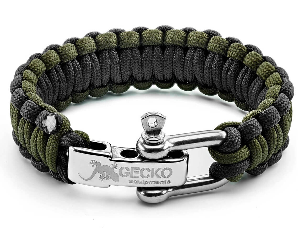 GECKO EQUIPMENT Army Green/Black King Cobra Paracord Survival Bracelet