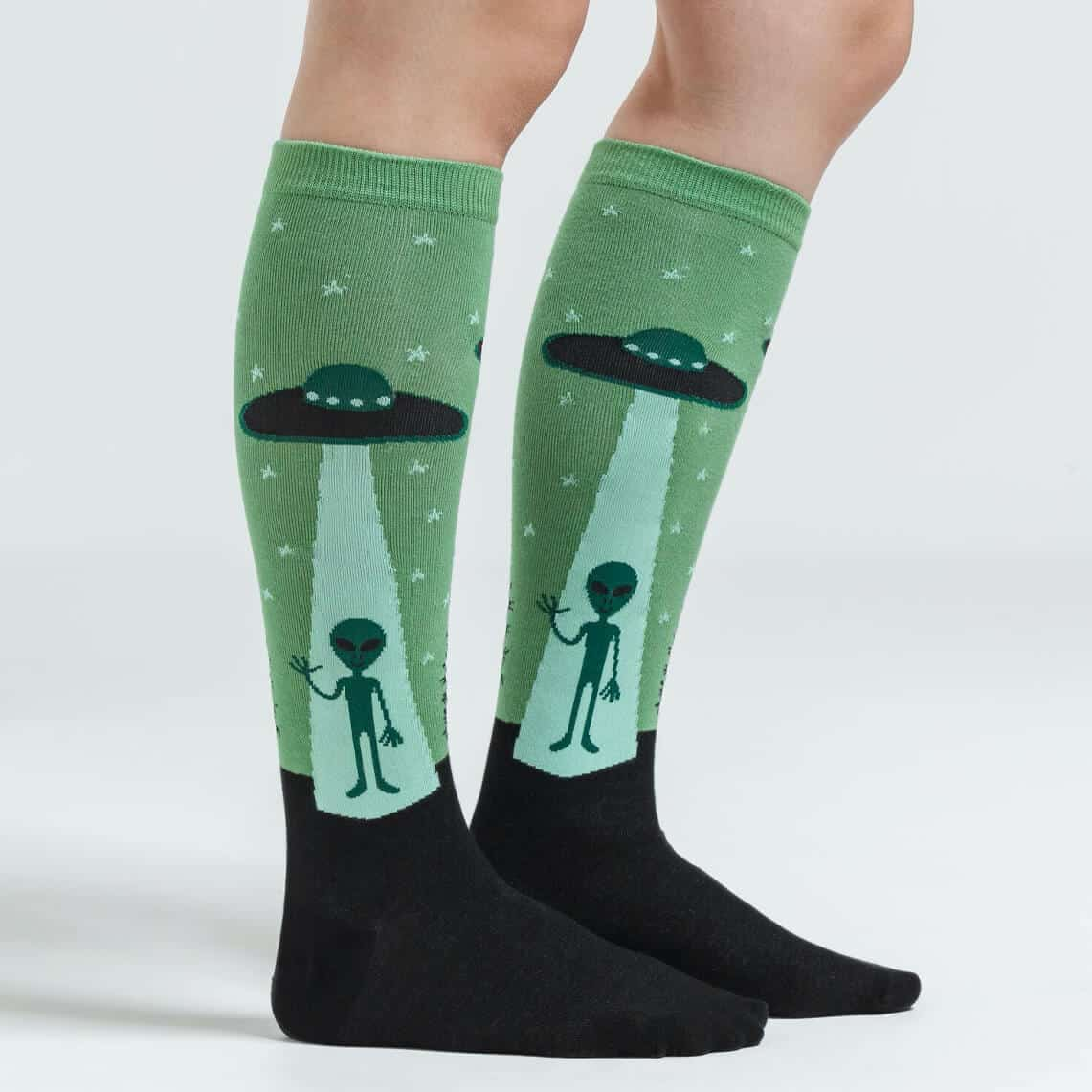 I Believe Knee High Alien Socks