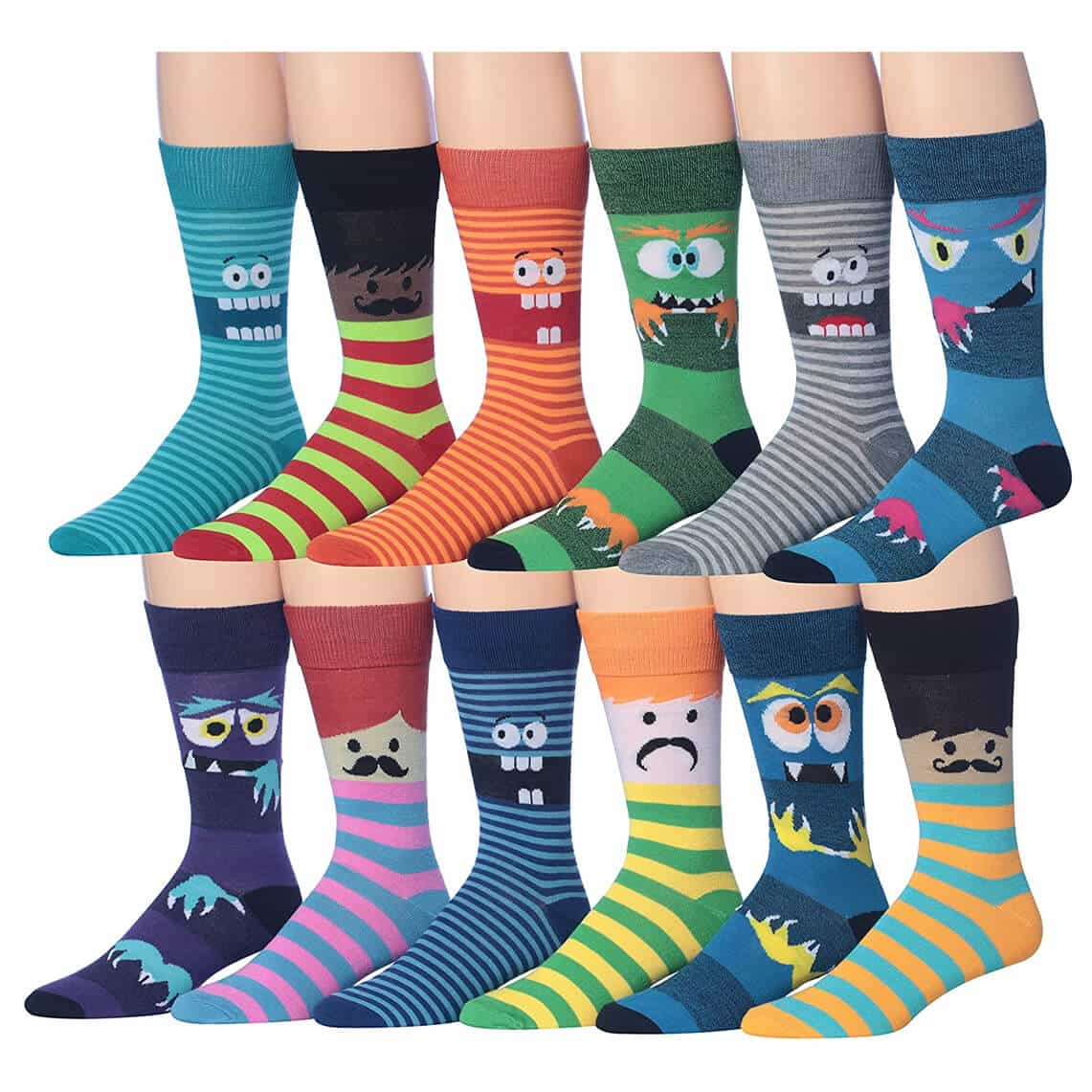 James Fiallo Men's 12-Pairs Funny Funky Crazy Novelty Colorful Patterned Dress Socks
