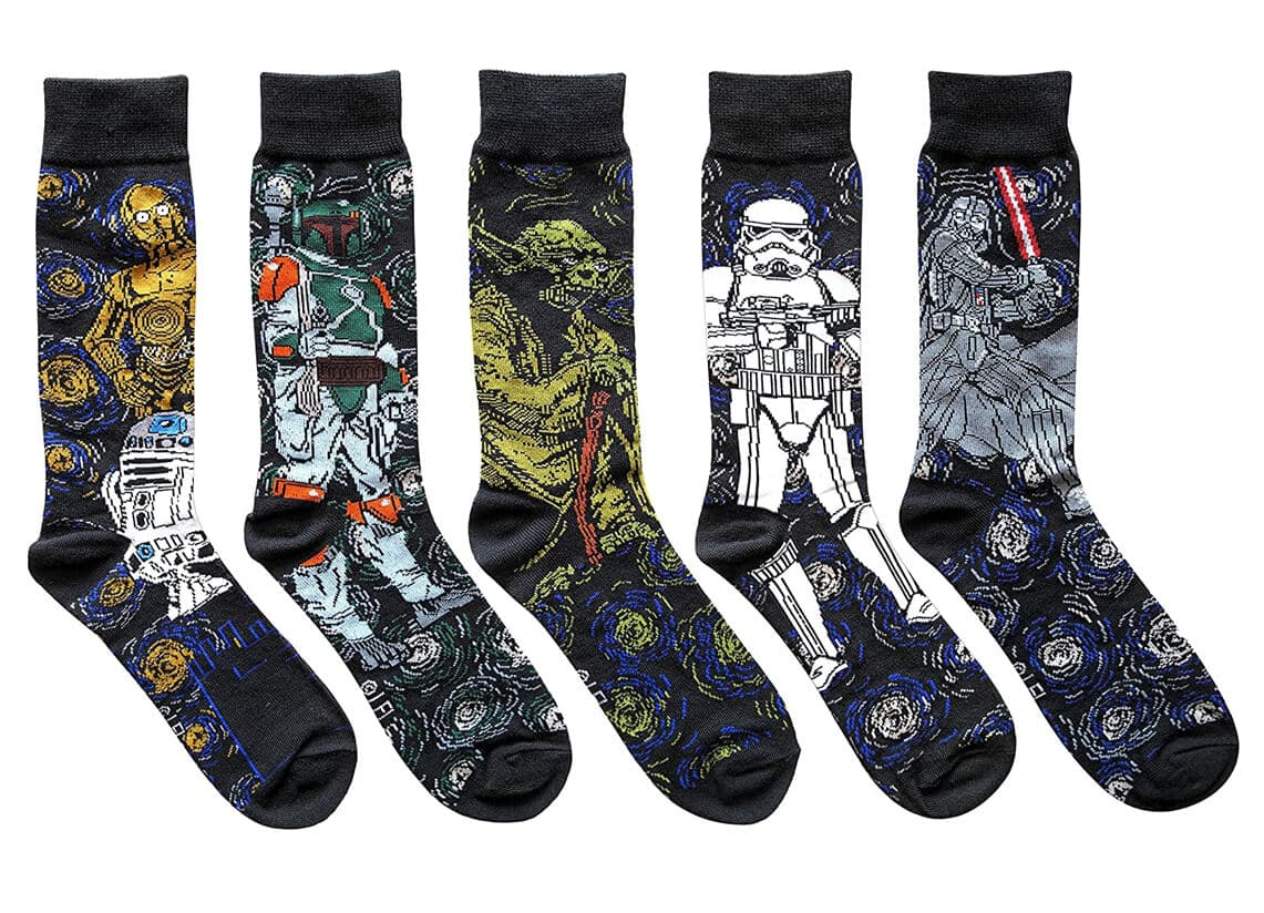 Star Wars Starry Night Themed Men's Crew Socks 5 Pair Pack
