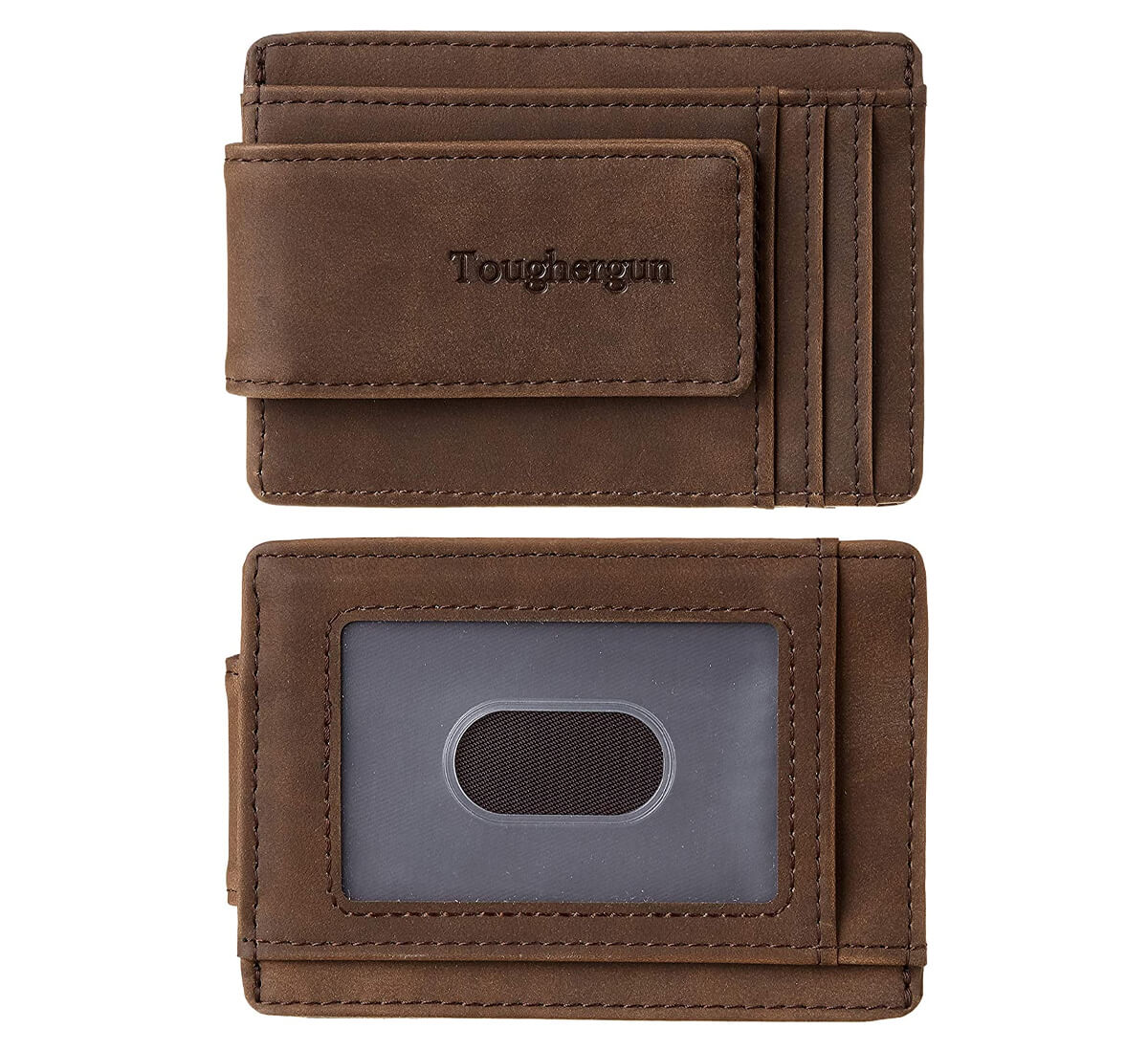 Toughergun Genuine Leather Magnetic Front Pocket Money Clip Wallet