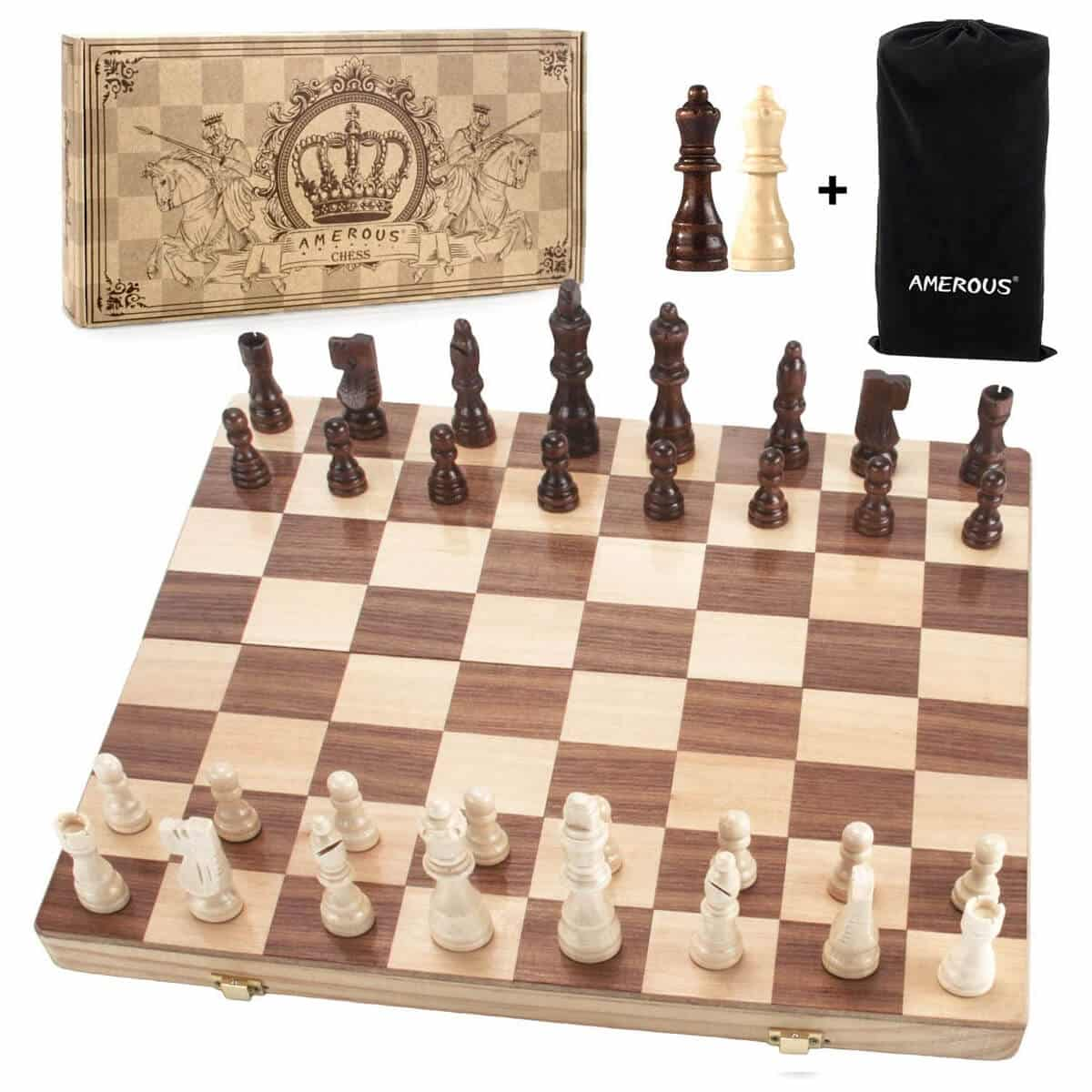 Amerous Magnetic Wooden Folding Chess Set
