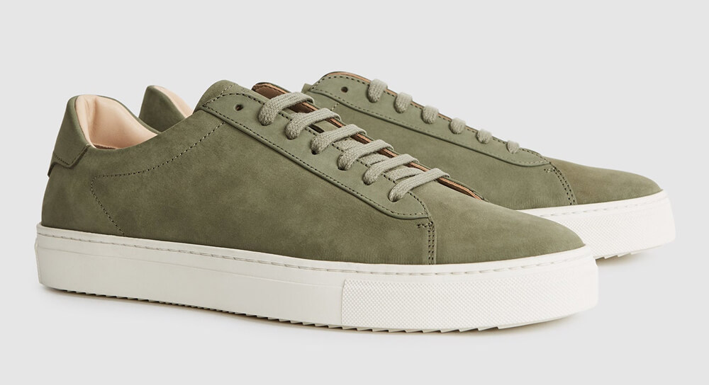 REISS - Finley - Nubuck Leather Trainers - Green Sneakers