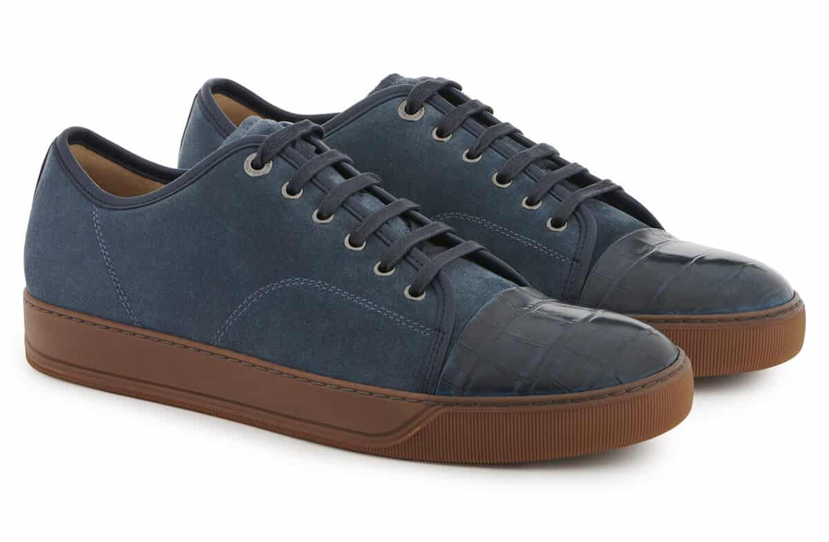 Lanvin - DBB1 SNEAKERS IN SUEDE AND CROCODILE-EMBOSSED NAPPA CALFKIN LEATHER