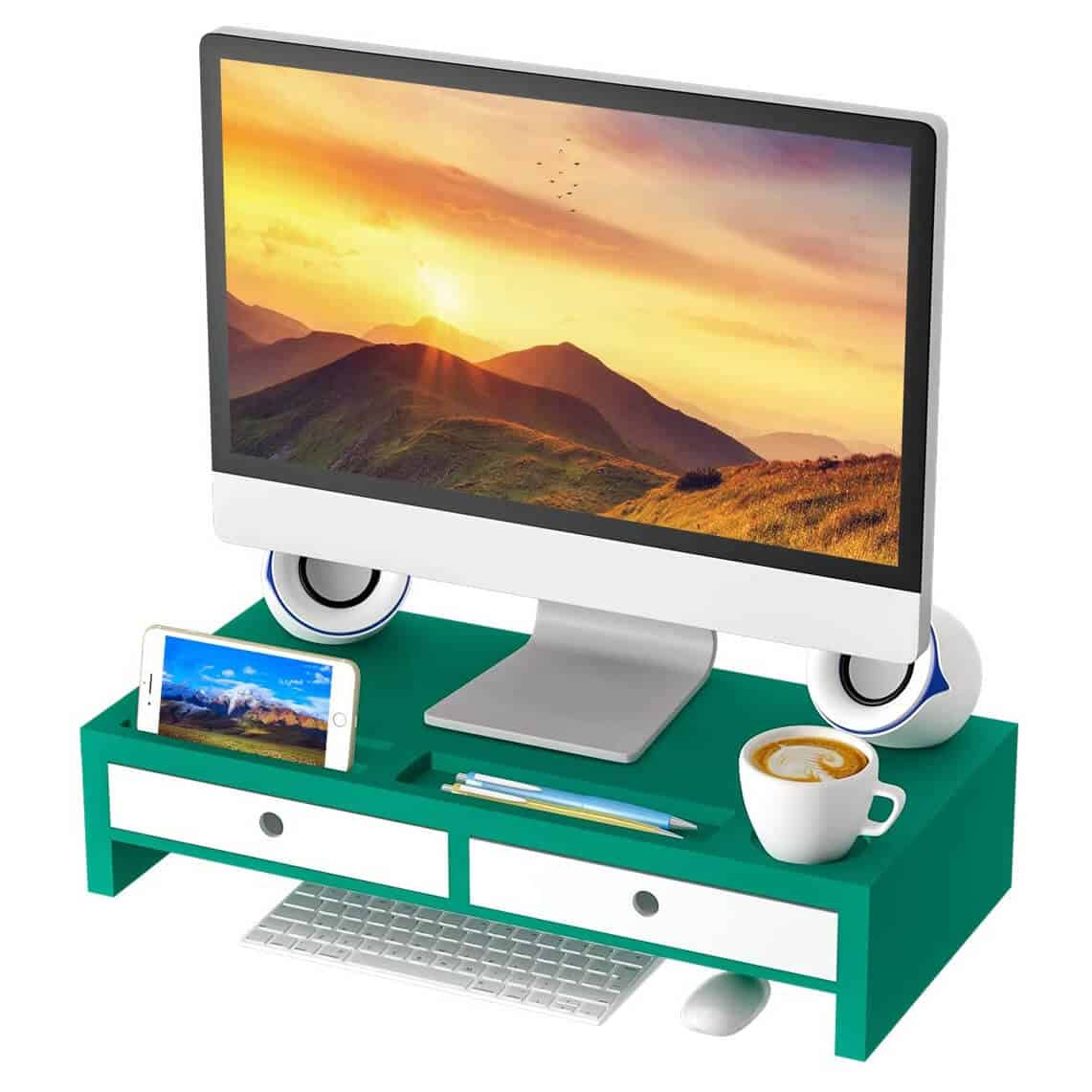 Zri Bamboo Wooden Monitor Stand in Green and White