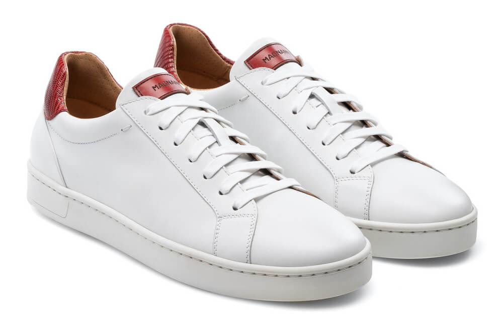 Magnanni Elonso Lo White and Red Men's Fashion Sneakers