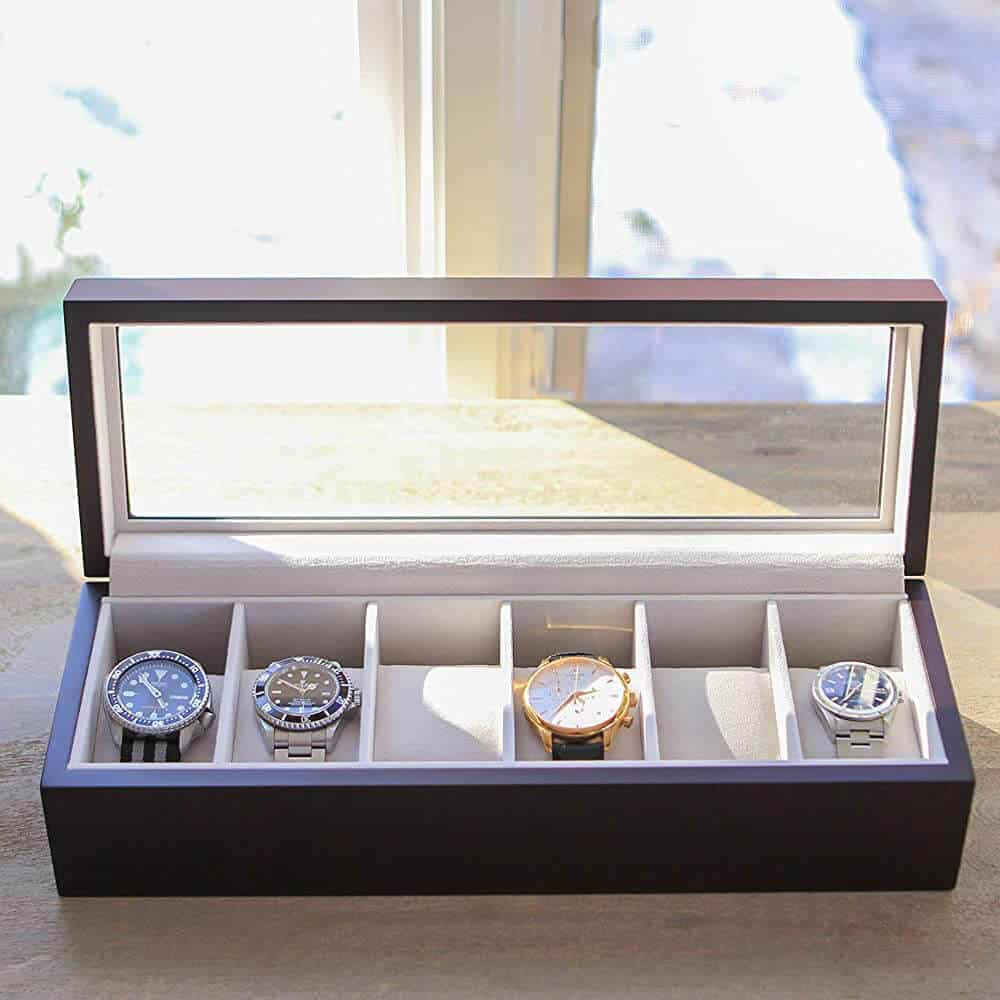 Case Elegance - Solid Wood Watch Box Organizer with Glass Display Top