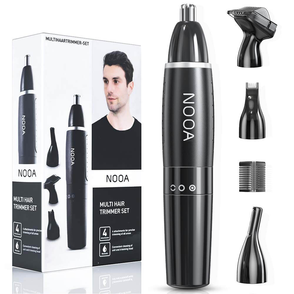 NOOA 4 IN 1 Ear and Nose Hair Trimmer for Men Eyebrow Trimmer Facial Hair Remover