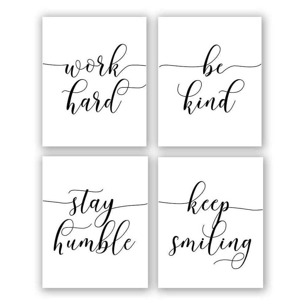 Inspirational Quote Office Art - Set of 4