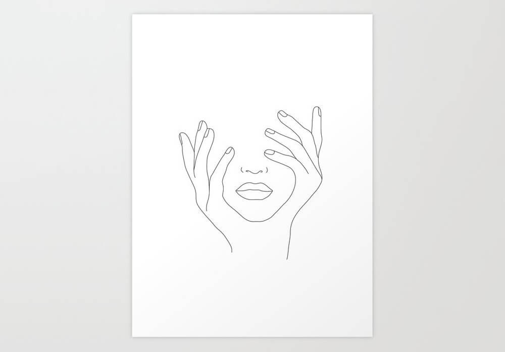 Minimal Line Art Woman With Hands on Face Art Print
