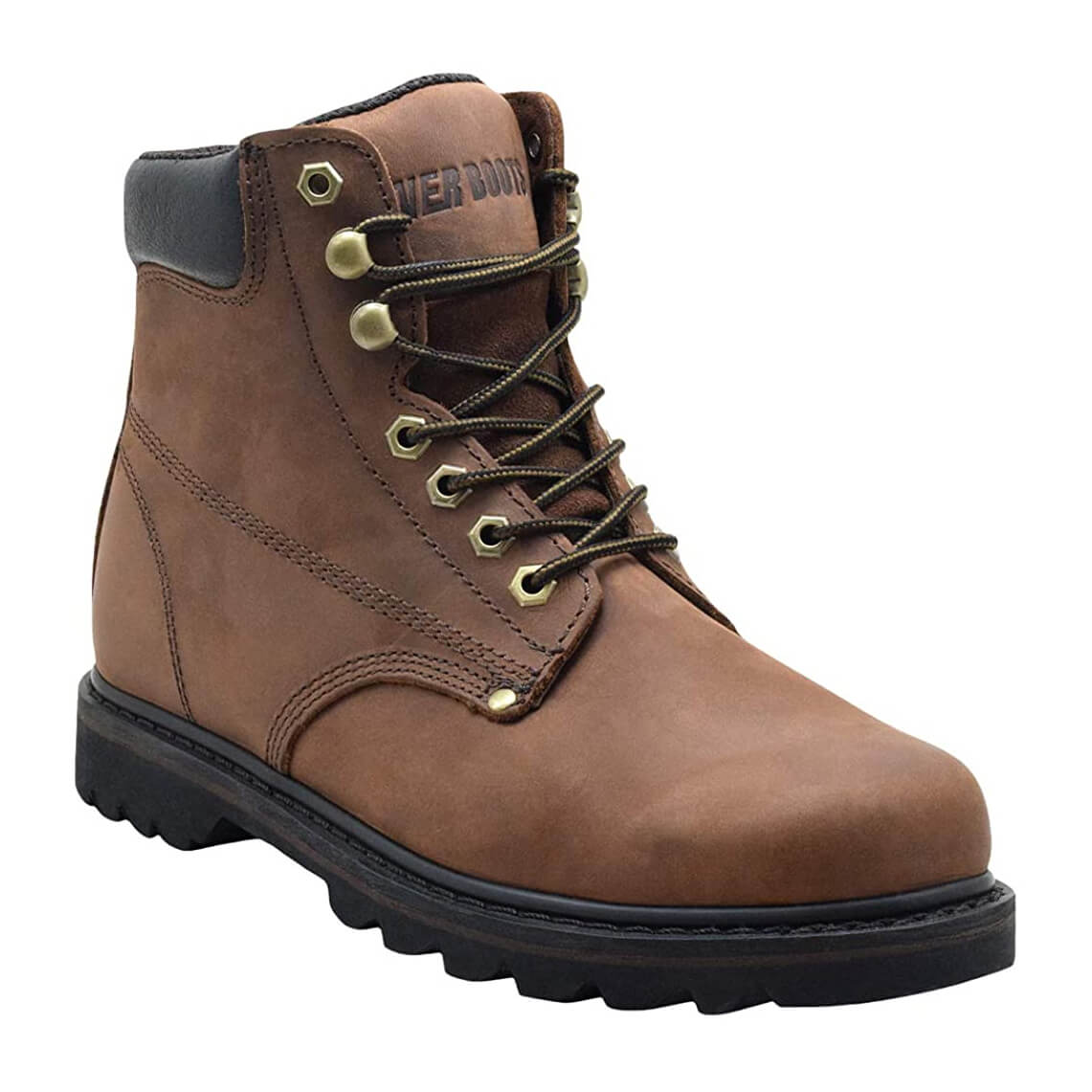 EVER BOOTS Tank Men's Soft Toe Oil Full Grain Leather Work Boots Construction Rubber Sole