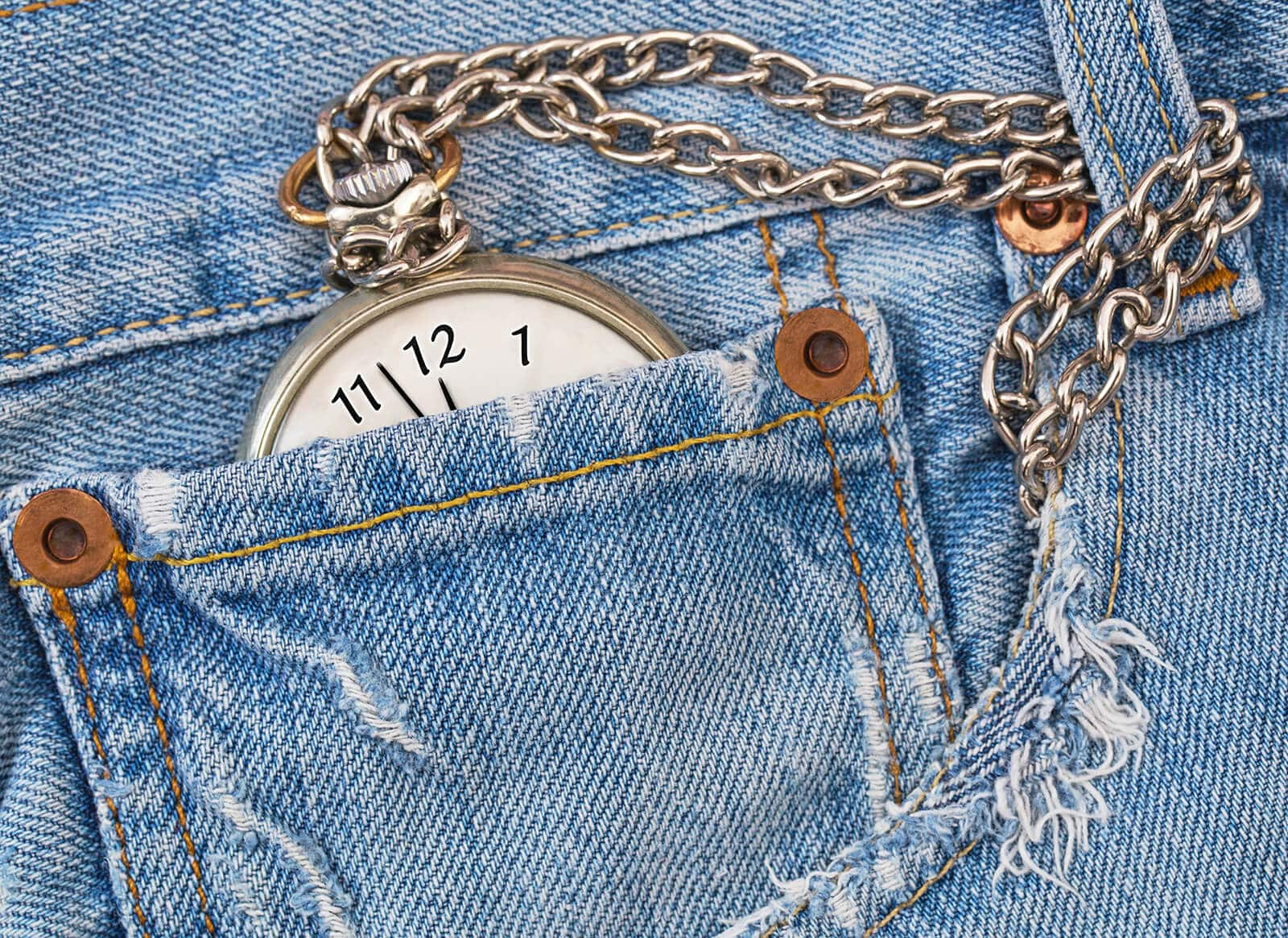 How to wear a pocket watch with jeans or pants