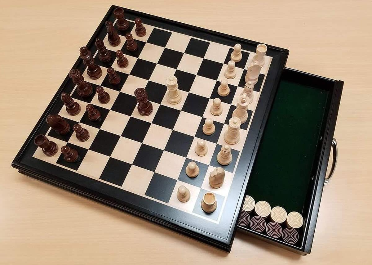 """Chess House 19"""" Wood Chess & Checkers Set"""