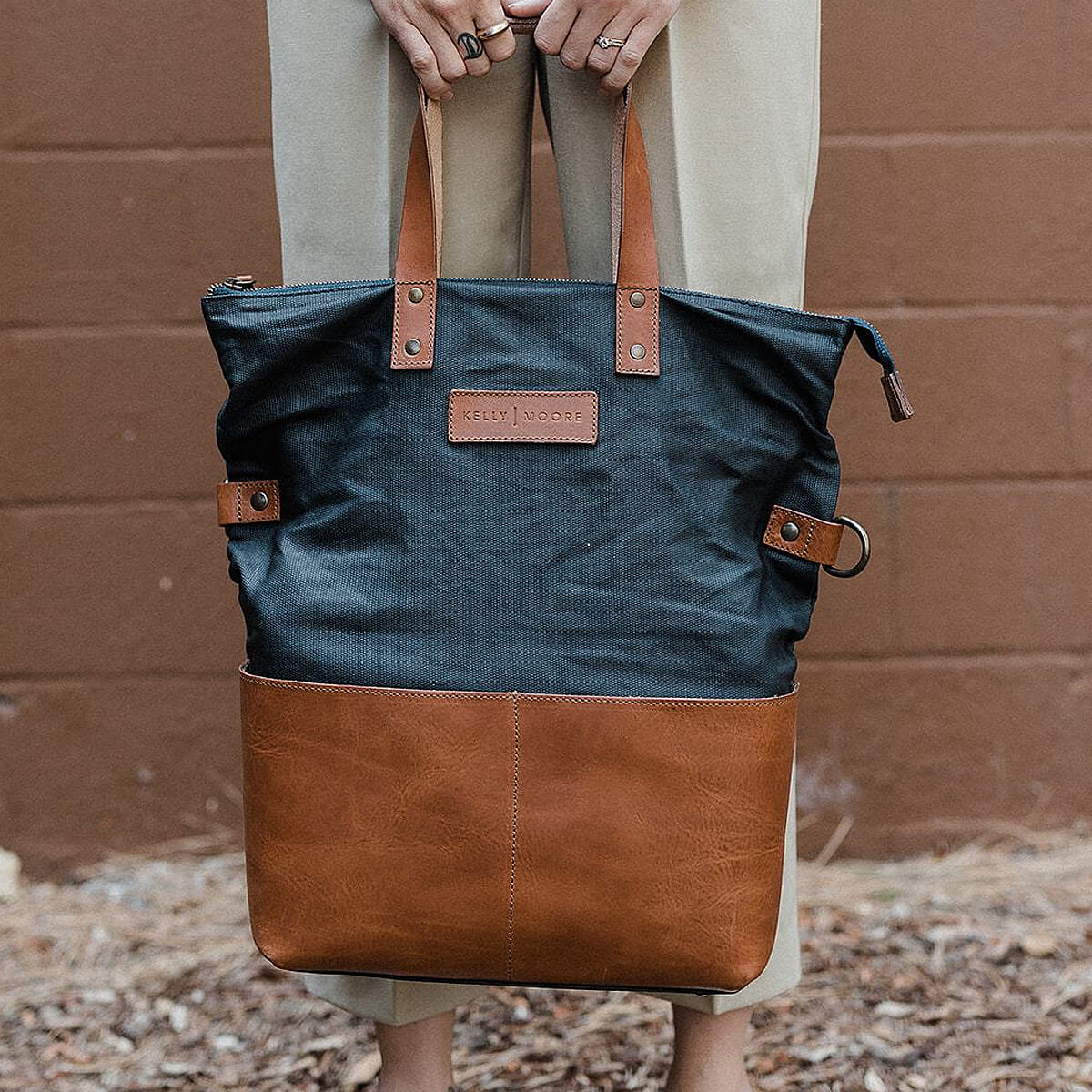 Kelly Moore - The Collins 3.0 - Canvas + Leather Backpack Tote