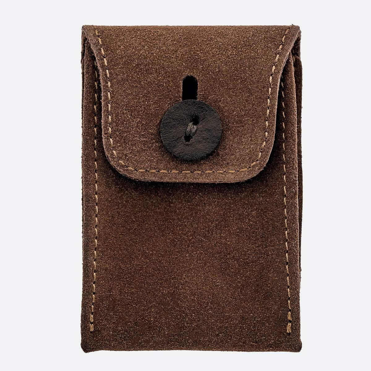 English Suede Mini Watch Pouch In British Tan