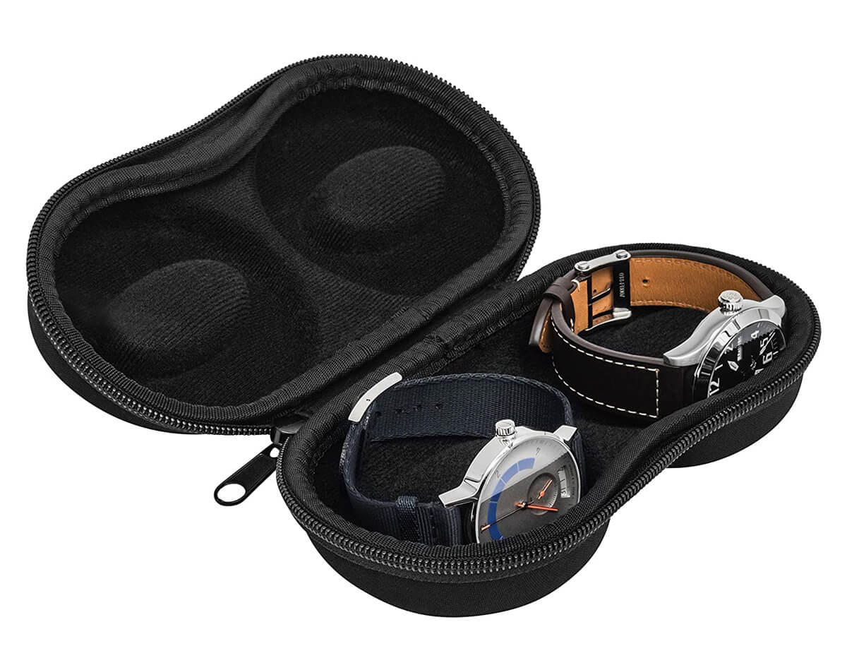 WatchPod Double Watch Travel Case Storage Holder Box for 2 Watches