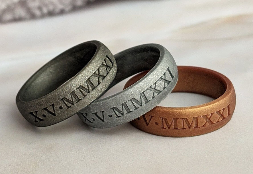 Knotheory Custom Engraved Silver Silicone Ring