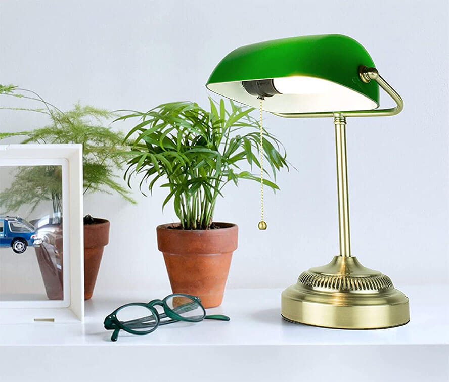 Newhouse Lighting Morgan Antique Green and Brass Lamp