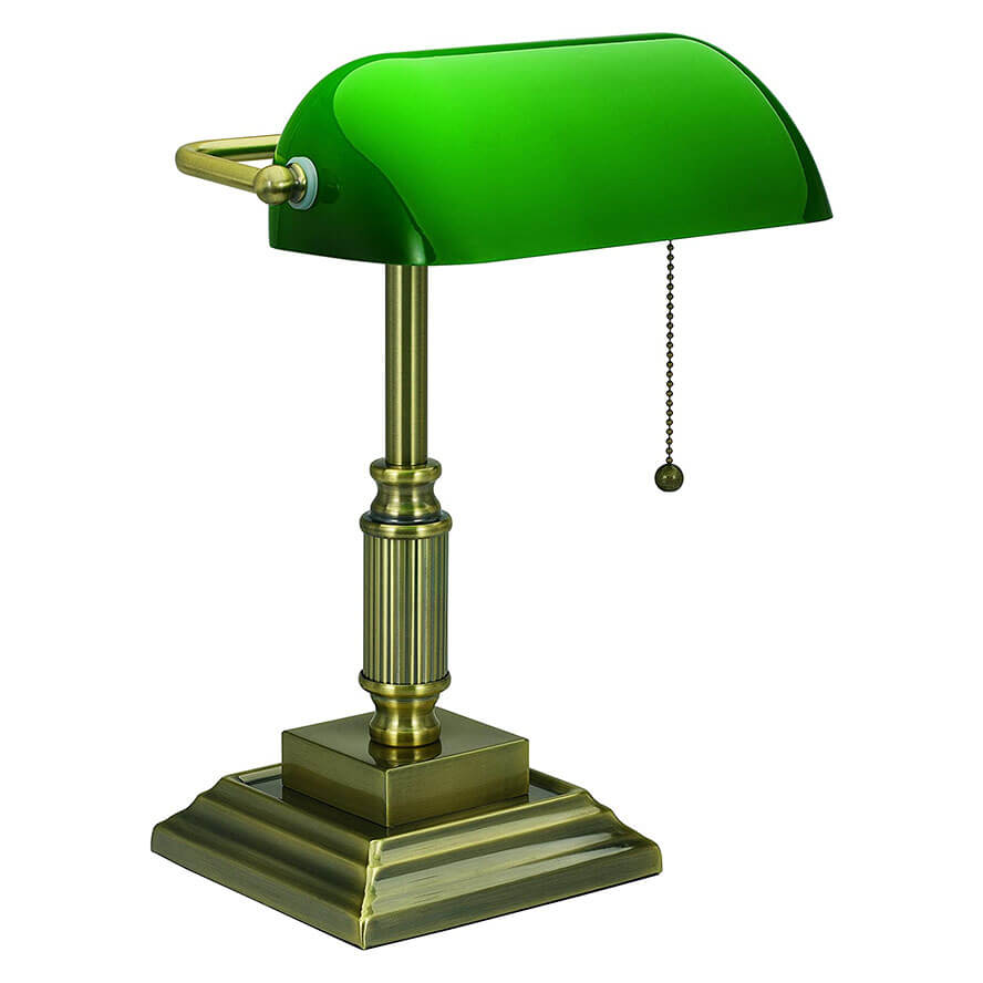 V-LIGHT with Replaceable LED, Green Shade Banker's Lamp