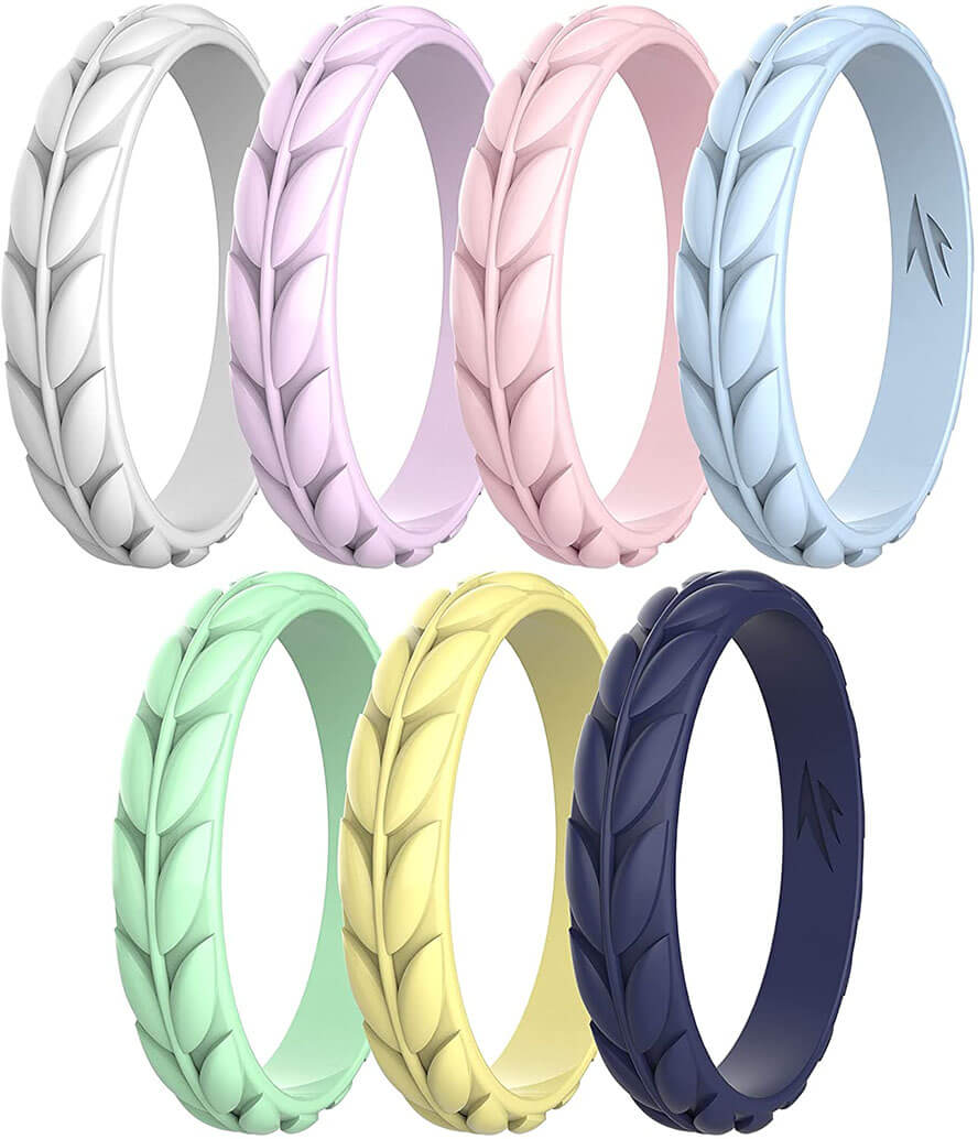 Zollen Olive Leaves Silicone Women's Wedding Ring