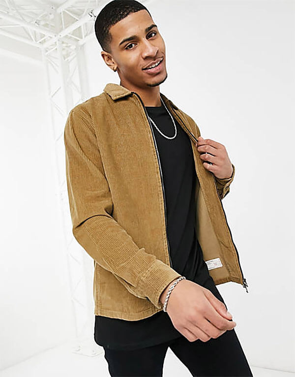 Selected Homme Cord Overshirt Jacket with Zip in Tan